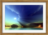 Framed Rays from the sun shine down on this colorful seascape