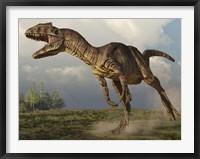 Framed Allosaurus running in an open field
