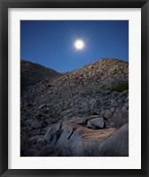 Framed Moonlight illuminates the rugged terrain of Bow Willow Canyon, California