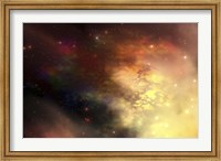 Framed beautiful nebula out in the cosmos with many stars and clouds