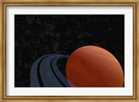 Framed beautiful planet with rings