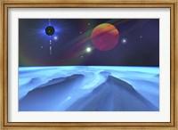 Framed Blue Fog and Mountains on Alien Planet