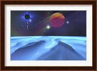 Framed Blue Fog and Mountains on Alien Planet