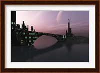 Framed City Relection in Calm Waters of Another Galaxy
