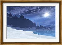 Framed cold winter night on this beach has a full moon