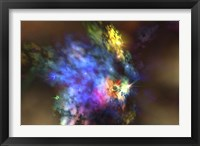Framed colorful nebula in the universe