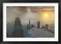 Framed fantasy science fiction world on another planet