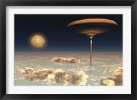 Framed futuristic space station hovers above the Earth