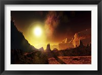 Framed large sun heats this alien planet which bakes in its glow
