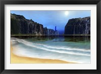 Framed lighthouse guards this beautiful cove