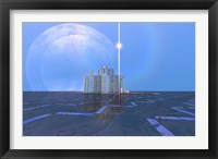 Framed star shines on alien architecture on this double moon planet