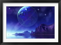Framed Cosmic seascape on another world with a ringed planet in the night sky