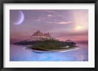 Framed Fantasy seascape of an island