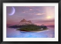 Framed Fantasy seascape of an island