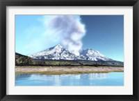 Framed Mount Saint Helens simmers after the volcanic eruption