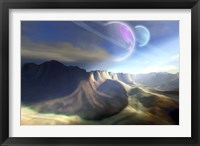 Framed Mountainous landscape on a futuristic world with two beautiful moons