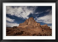 Framed Red rock formation illuminatd by moonlight in Arches National Park, Utah