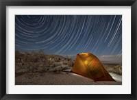Framed Star trails above a campsite in Anza Borrego Desert State Park, California