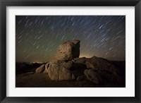 Framed Star trails and large boulders Anza Borrego Desert State Park, California