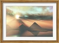 Framed Sunrays shine down on three pyramids along the Nile River on the Giza Plateau