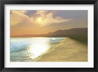 Framed Sunset on a quiet peaceful beach with gorgeous water