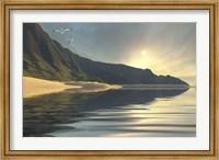Framed sun sets on a beautiful mountainside and shoreline