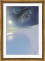 Framed Wintery seascape of an ice world