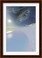 Framed Wintery seascape of an ice world