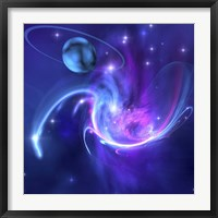 A beautiful nebula and a ringed planet Framed Print