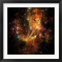 Framed colorful nebula and stars in the cosmos