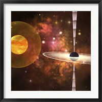 Framed huge sun encircled by an energy field orbits near a black hole in space