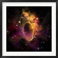 Framed nebular cluster of gases and stars