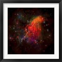Framed pulsar star radiating strong beams of light