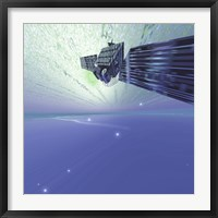 Framed satellite out in the vast beautiful universe