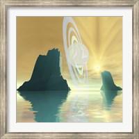 Framed striking sunburst on this cosmic seascape