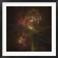 Framed Cosmic image of a colorful nebula in space