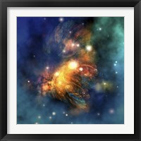 Framed Cosmic image of a colorful nebula out in space