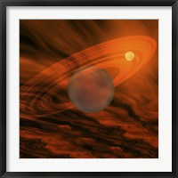 Framed Cosmic image of a giant gaseous ringed planet