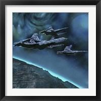Framed Starships near an alien planet