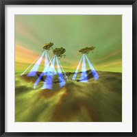 Framed Three alien spaceships steal the mineral resources on another planet