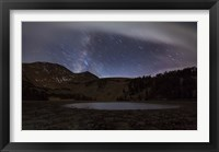 Framed Star trails and the blurred band of the Milky Way above a lake in the Eastern Sierra Nevada