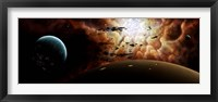 Framed view from a busy planetary system to a nearby stellar nursery