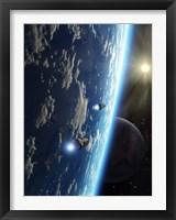 Framed Two survey craft orbit a terrestrial type planet