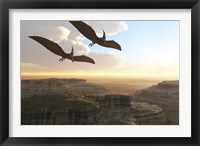Framed Two Pterodactyl flying dinosaurs soar above a beautiful canyon