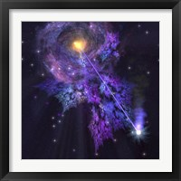Framed shooting star radiates out from a black hole in the center of a galaxy