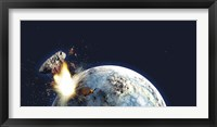 Framed Apocalyptic illustration of Earth exploding from the inside