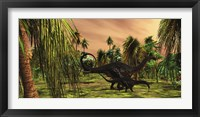 An Apatosaurus mother escorts her hatchling baby Framed Print