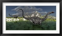 Apatosaurus dinosaurs roam the wilderness of prehistoric times Framed Print