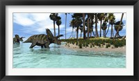 Two Coahuilaceratops dinosaurs wade through tropical waters Framed Print