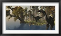 Two Apatosaurus dinosaurs visit an island in prehistoric times Framed Print